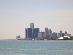 GM Renaissance Center viewed from Bell isle