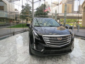 Cadillac in the entrance of GM building