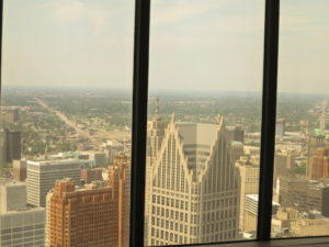 Detroit downtown viewed from GM building, 72F
