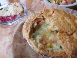 Chicken pot pie and cherry pie